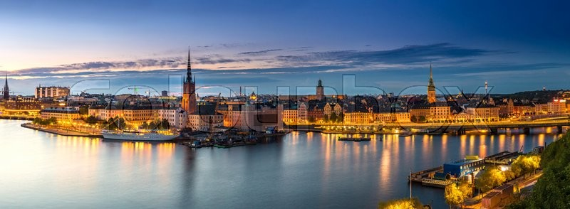 Scenic summer night panorama of the Old Town (Gamla Stan) architecture in Stockholm, Sweden, stock photo