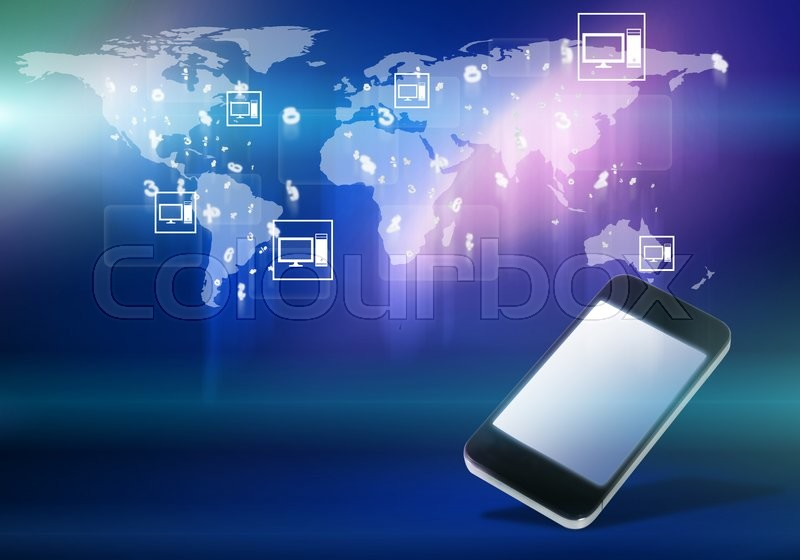 Mobile phone and world map digital image on color background stock mobile phone and world map digital image on color background stock photo colourbox gumiabroncs Choice Image