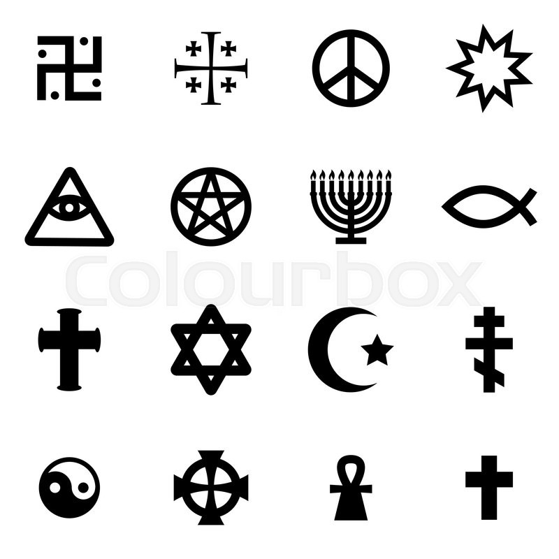 Vector Black Religious Symbols Set On White Background Stock
