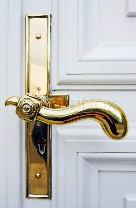 Antique Gold Plated Door Handle On The White Door | Stock Photo | Colourbox