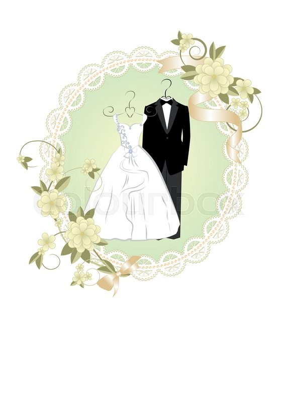 Wedding invitation with bride and groom dress and a lace frame ...