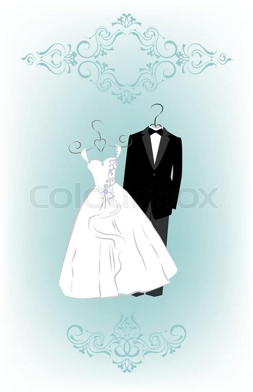 Wedding Invitation Card With Cartoon Stock Vector Colourbox