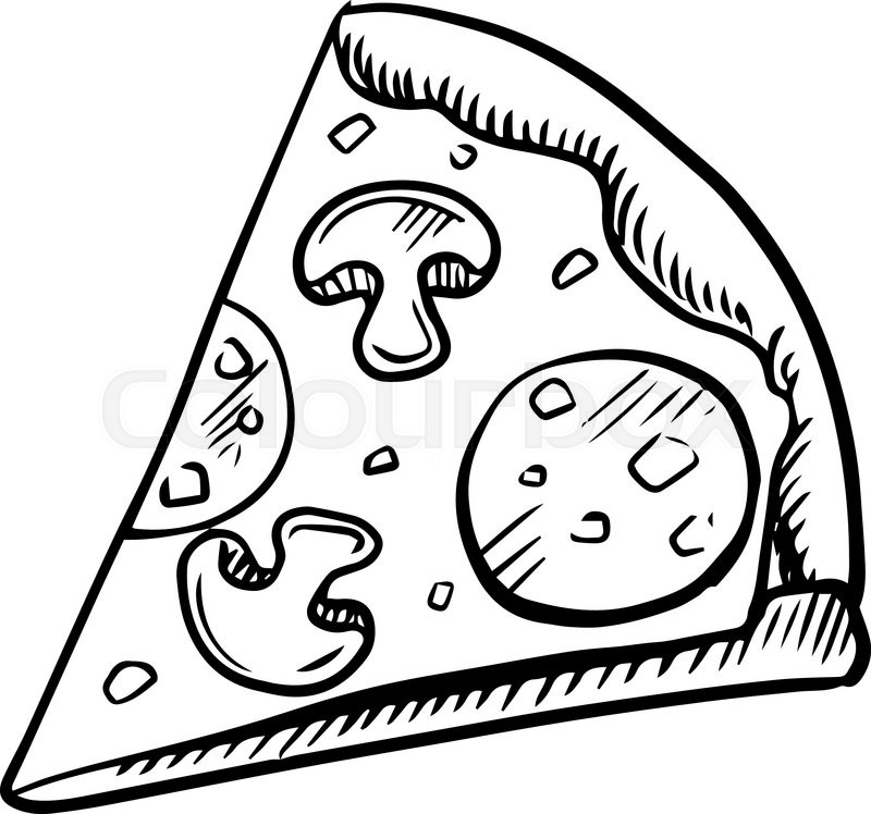 black and white slice of pepperoni pizza with mushrooms  high angle view  sketch icon stock School Lunch Tray Clip Art School Lunch