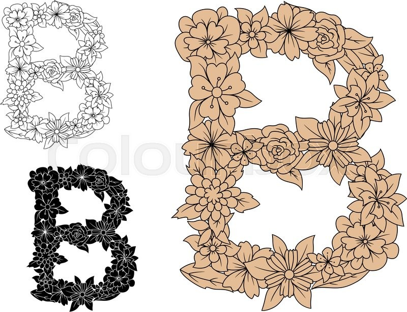 Uppercase Letter B In An Intricate Floral Design For A Decorative Typographical Element Three Different Color Variations Isolated On White