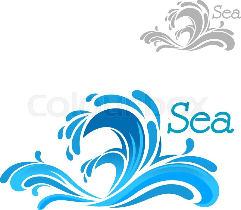 cartoon blue sea wave splash on white background for nature or