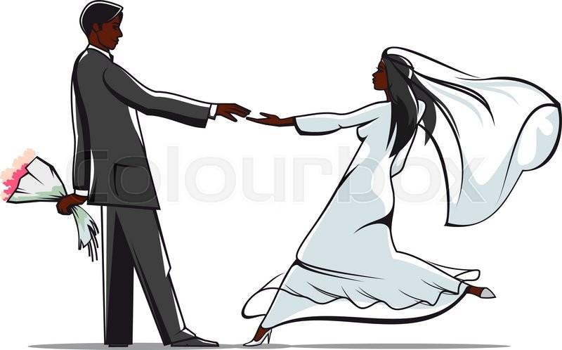African american bride and groom in elegant wedding outfits ...