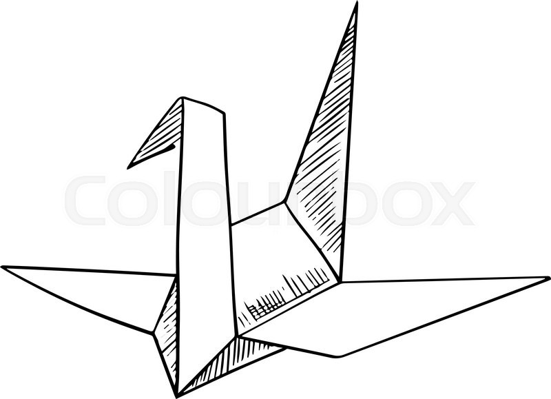 Origami Paper Model Of A Crane Bird Sketch Icon Isolated On White