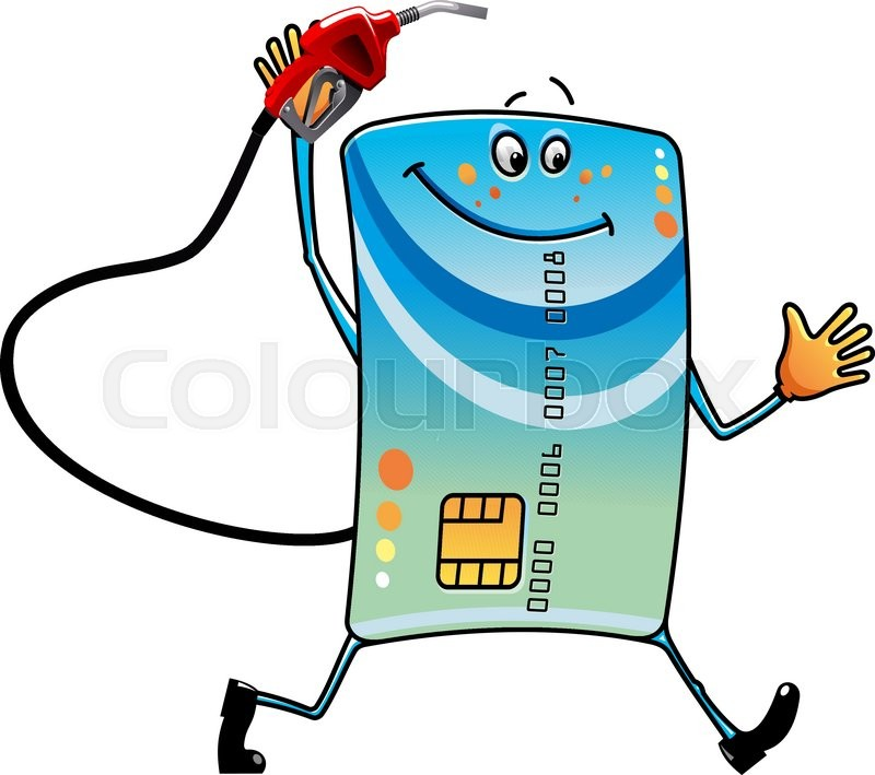 cartoon bank credit card character with gasoline pump nozzle in hand