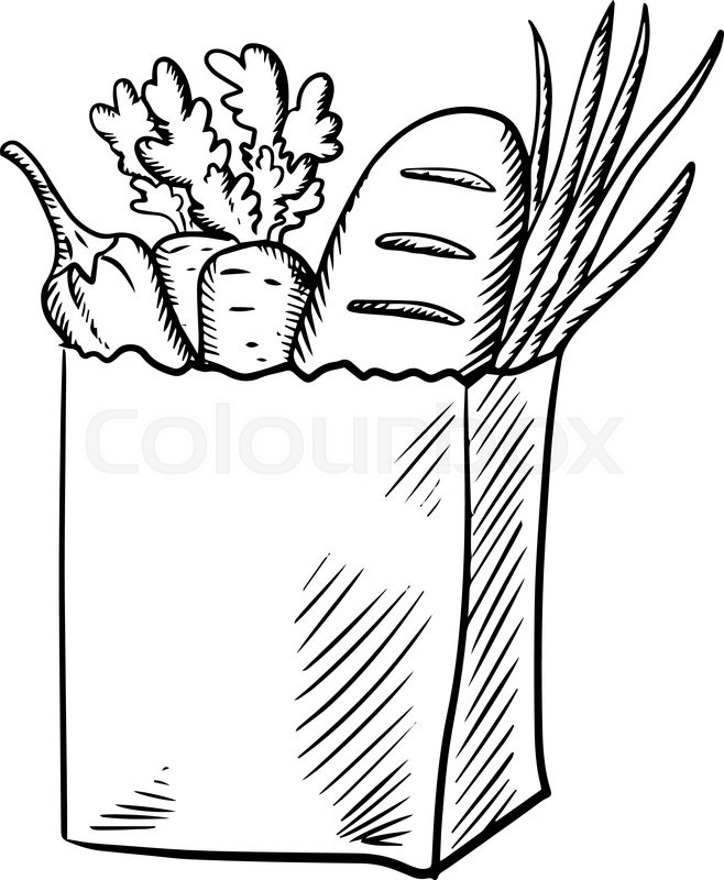 Line Drawing Zucchini : Paper shopping bag with fresh carrot green onion