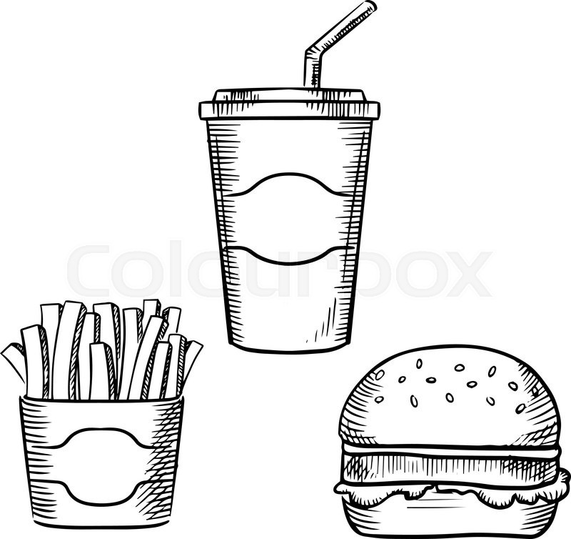 fast food hamburger with beef patty and lettuce leaf box of french