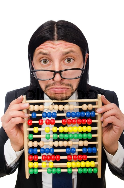 Funny man with calculator and abacus | Stock image | Colourbox