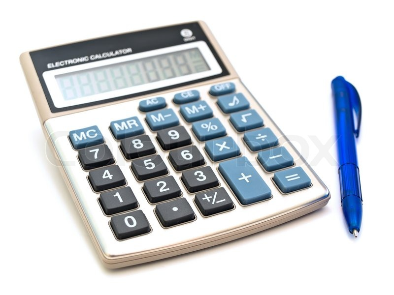 Calculator And Pen Against The White Background Stock