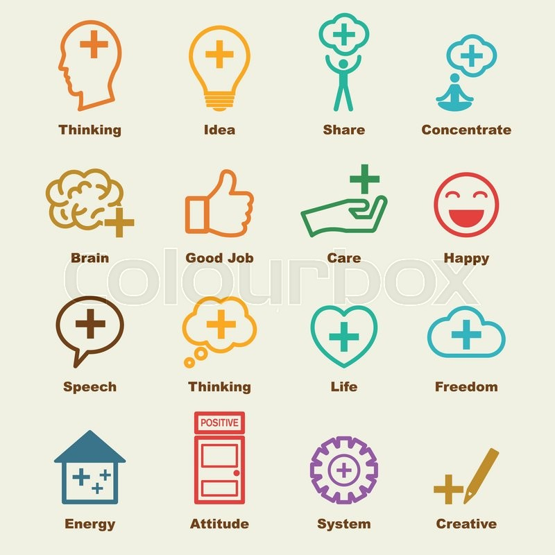 Think Positive Elements Vector Infographic Icons Stock Vector