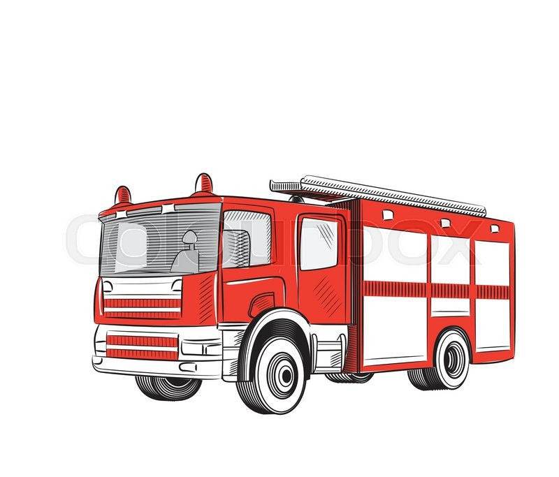 Fire Truck Cartoon Stylized Drawing. ...