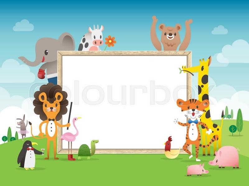 Animal Cartoon Frame Border Template Stock Vector Colourbox