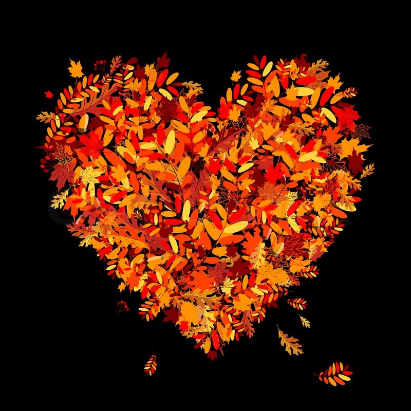 i love autumn heart shape from falling leaves vector
