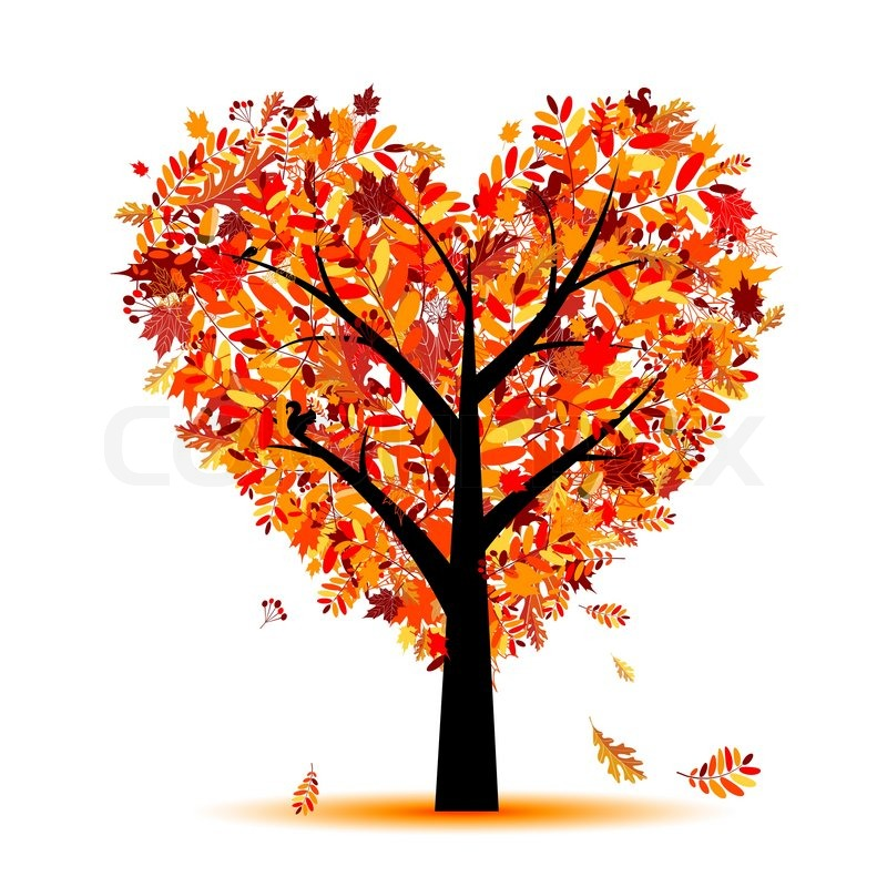 Beautiful Autumn Tree Heart Shape For Your Design Stock
