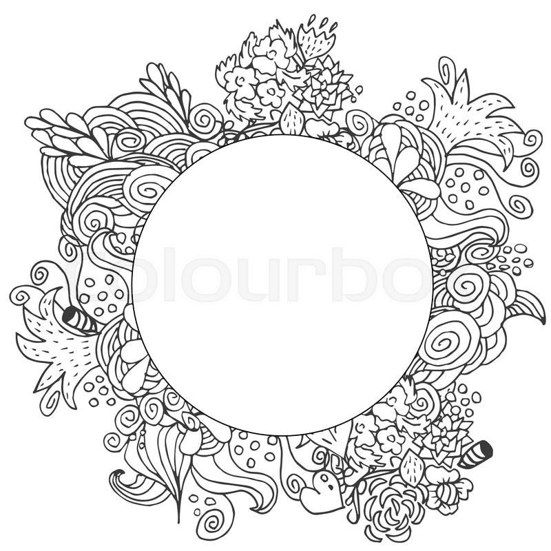 Hand Drawn Floral Vector Doodle Card ... | Stock Vector | Colourbox