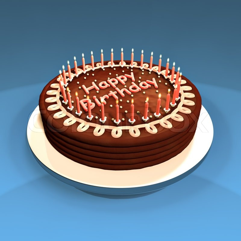 Chocolate Cake Decorated With Candles Made In 3d Stock Photo