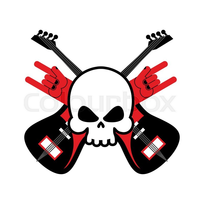 skull with guitars and rock hand symbol logo for rock