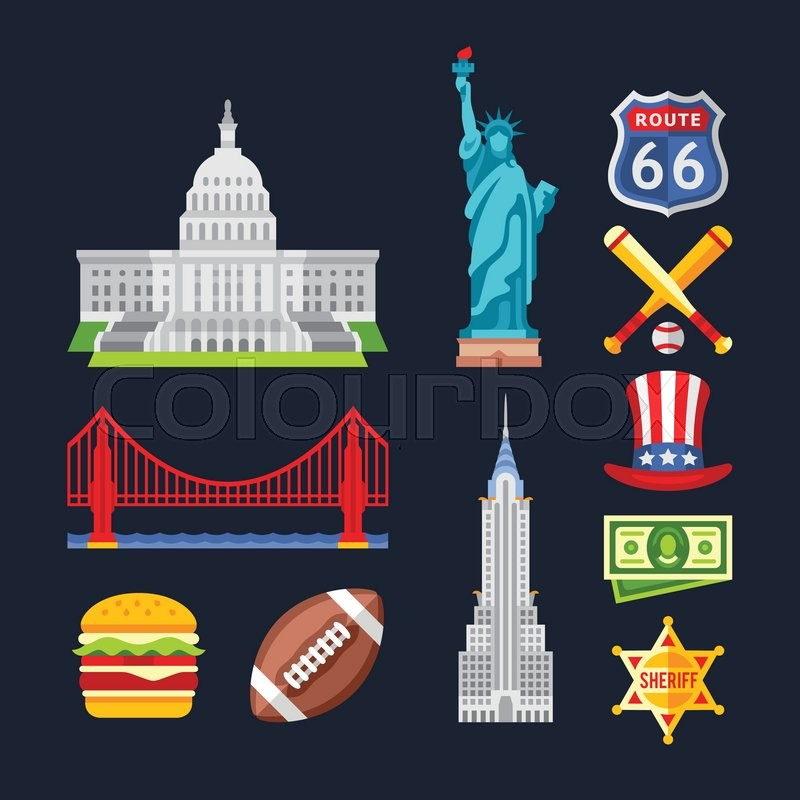 Set Of Traditional Symbols Of Architecture And Culture Of The Usa