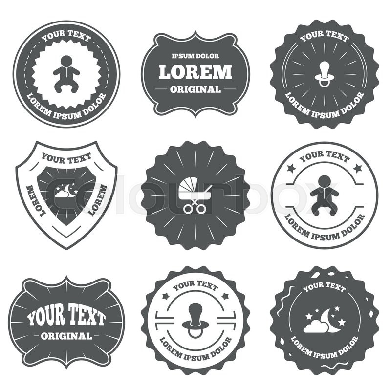 Vintage Emblems Labels Moon And Stars Symbol Baby Infants Icon