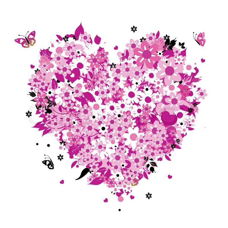 floral heart shape  stock vector  colourbox, Beautiful flower