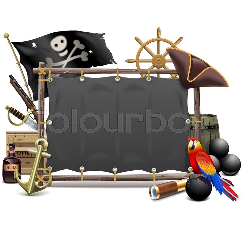 Vector Pirate Frame with Sail isolated on white background | Stock ...