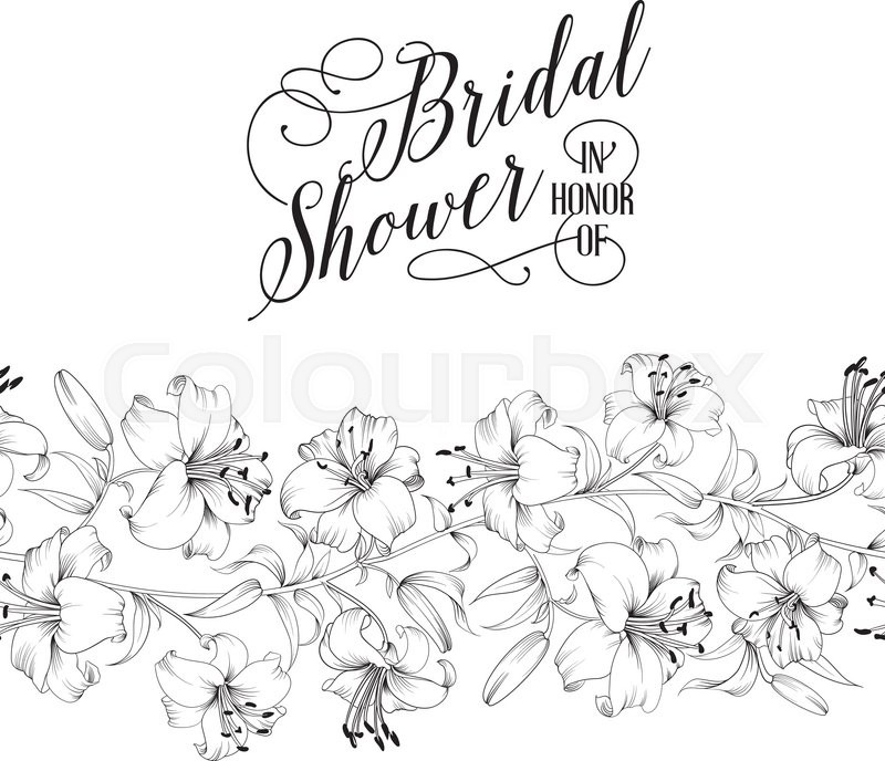 Wedding Invitation Card With White Flowers Vintage Bridal Shower - Bridal shower card template