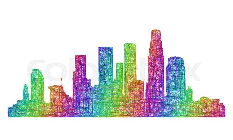los angeles city skyline silhouette multicolor line art stock rh colourbox com