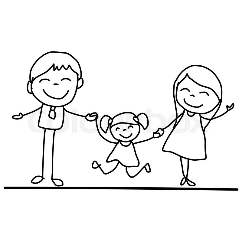 how to draw a family picture for kids