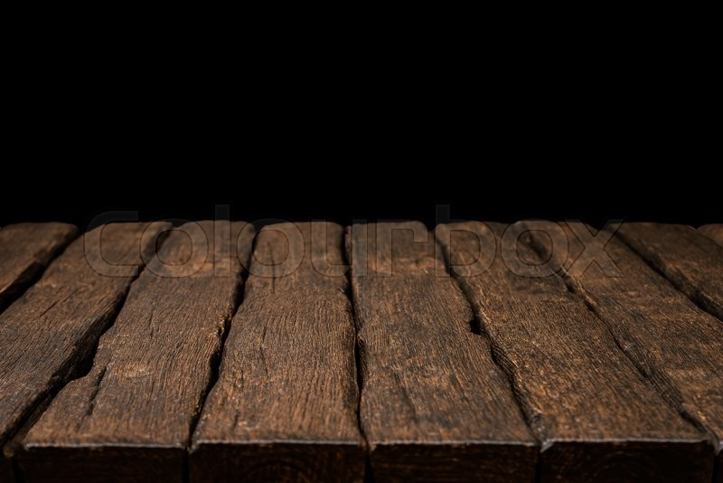 black wood table top. Perfect Wood Old Rustic Wooden Table Top With Solid Black Background  Stock Photo  Colourbox Inside Black Wood Table Top P