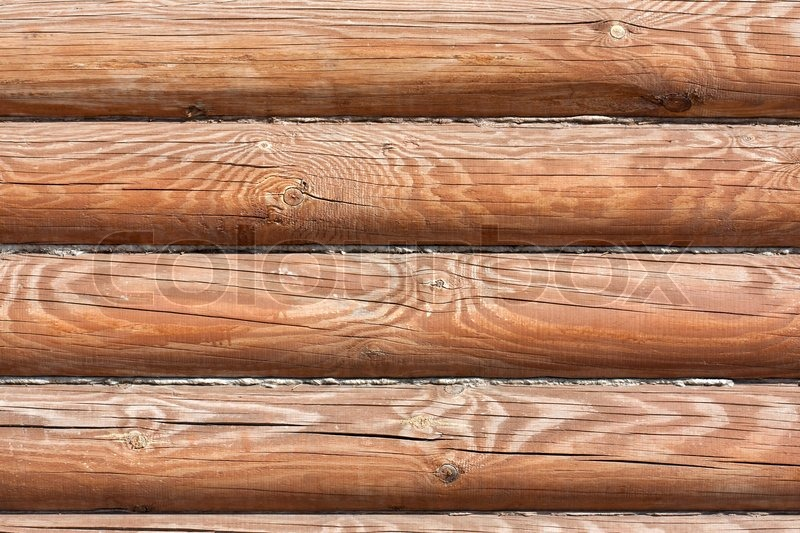 Wood Log Background Textured Pattern Plank Wall Stock