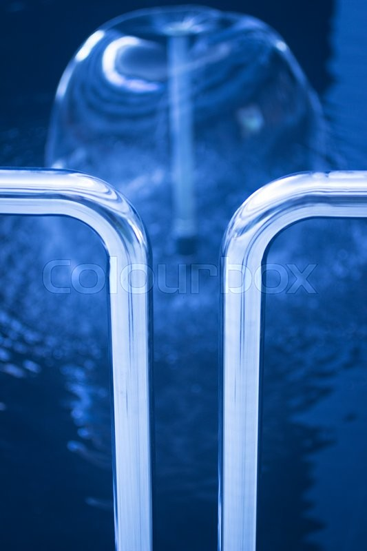 Health spa physical therapy, rehabilitation, physiotherapy water jets hydrotherapy spray and railings photo in blur tones, stock photo