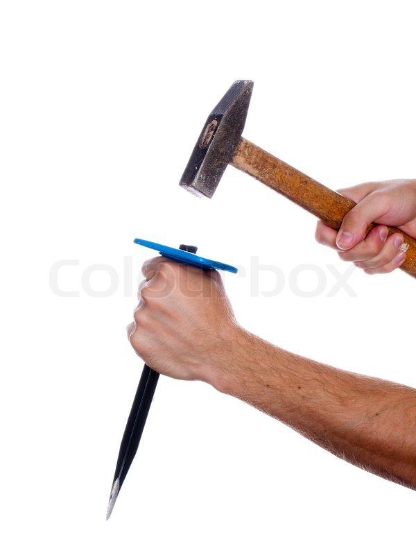 human hand die arbeit mit mei el und hammer tool stockfoto colourbox. Black Bedroom Furniture Sets. Home Design Ideas