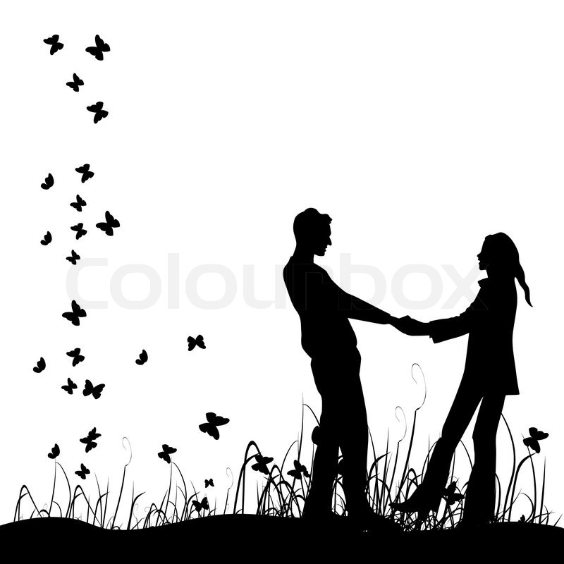 Couple On Meadow Black Silhouette Stock Vector Colourbox