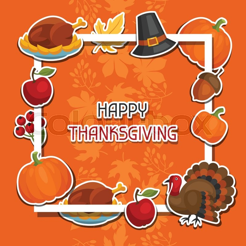 Stock vector of 'Happy Thanksgiving Day background design with holiday sticker objects.'