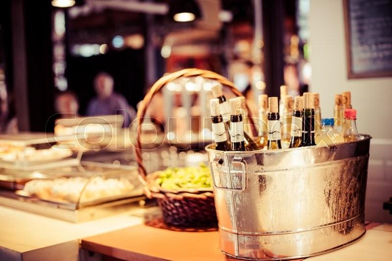 Wine bar tasting set up tray decoration bottles in restaurant , stock photo