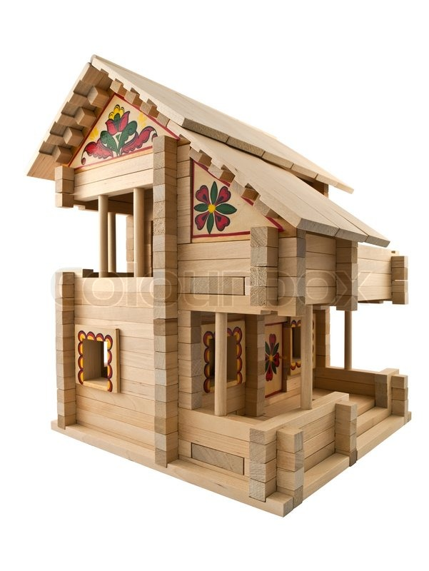 Holzspielzeug Haus Stockfoto Colourbox