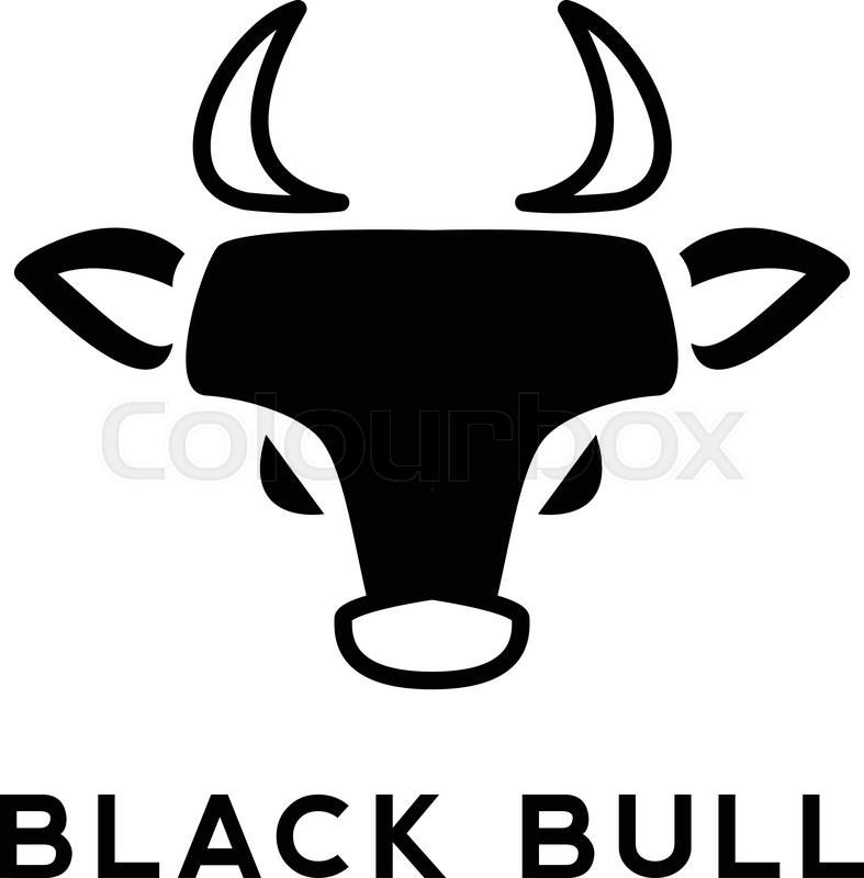 Vector Minimalistic Flat Bull Head Logotype Black Bull