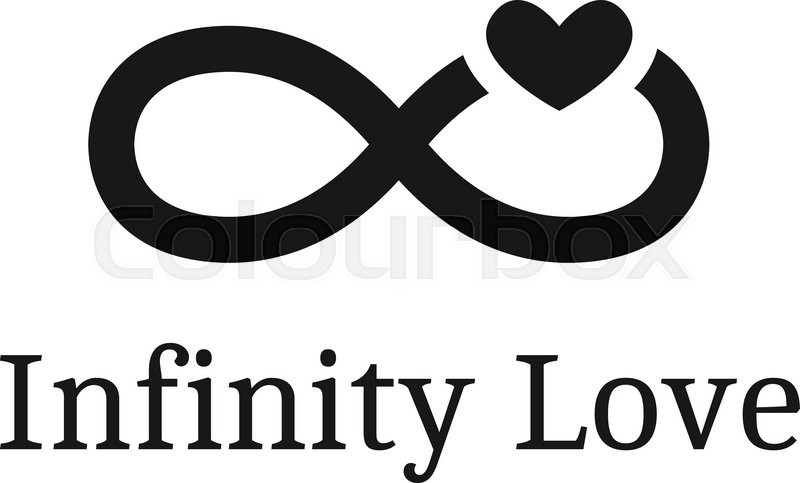 Vector trendy infinity sign with heart logotype. Modern ...