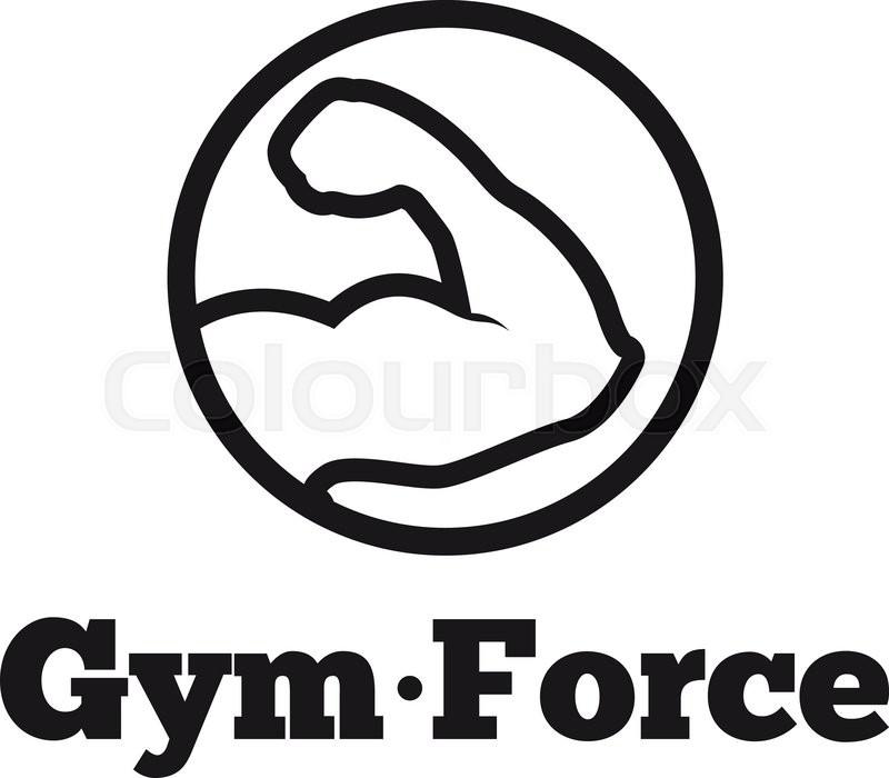 vector modern line style round minimalistic gym logo