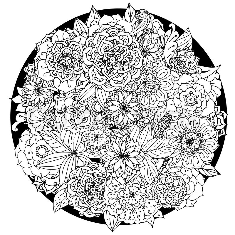 Circle Floral Ornament Hand Drawn Art Mandala Made By