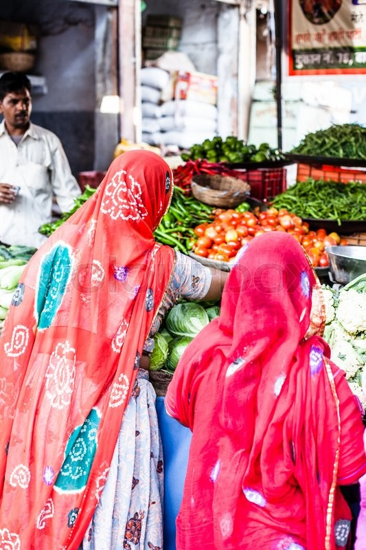 Indian Marketstall selling ingredients , stock photo