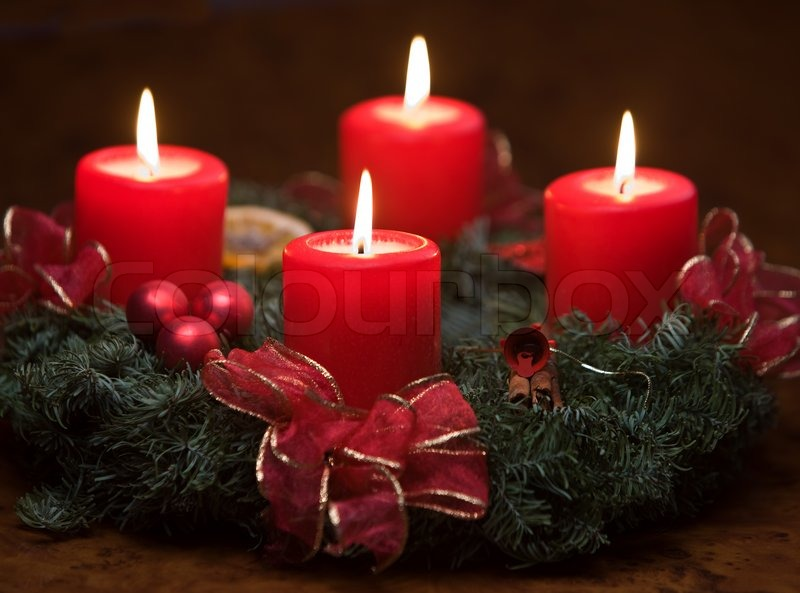 four lighted candles on advent stock photo colourbox. Black Bedroom Furniture Sets. Home Design Ideas