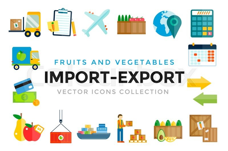 Import export fruits and vegetables delivery vector icons ...