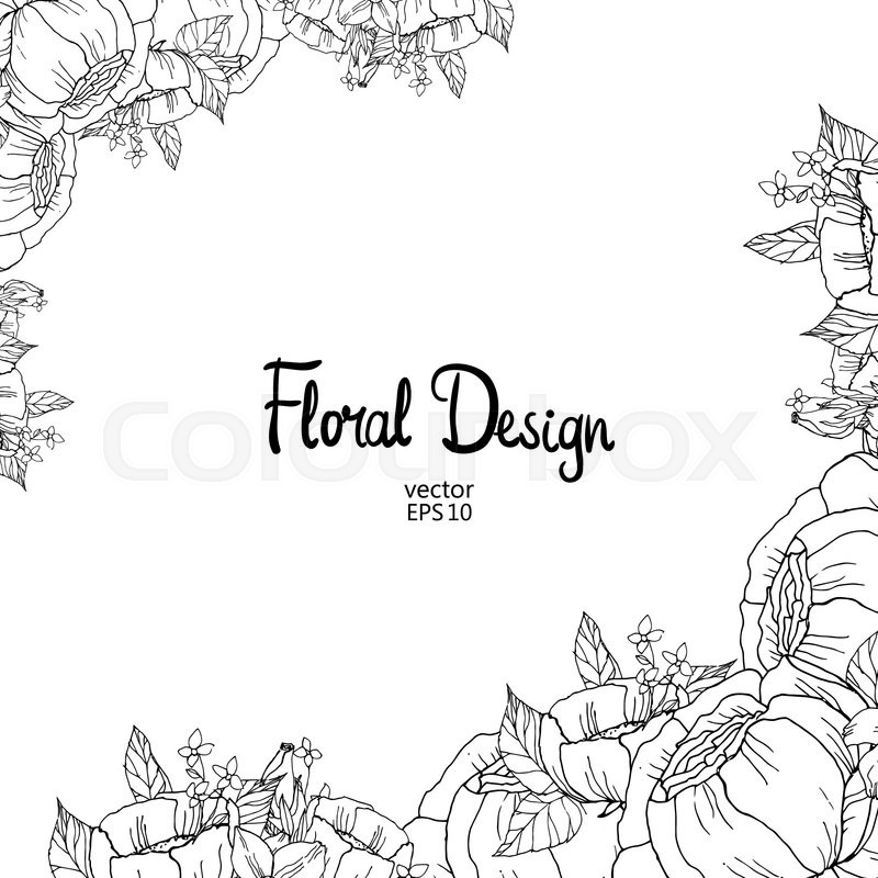 Black And White Outline Border With Hand Drawn Peonies Vector Illustration