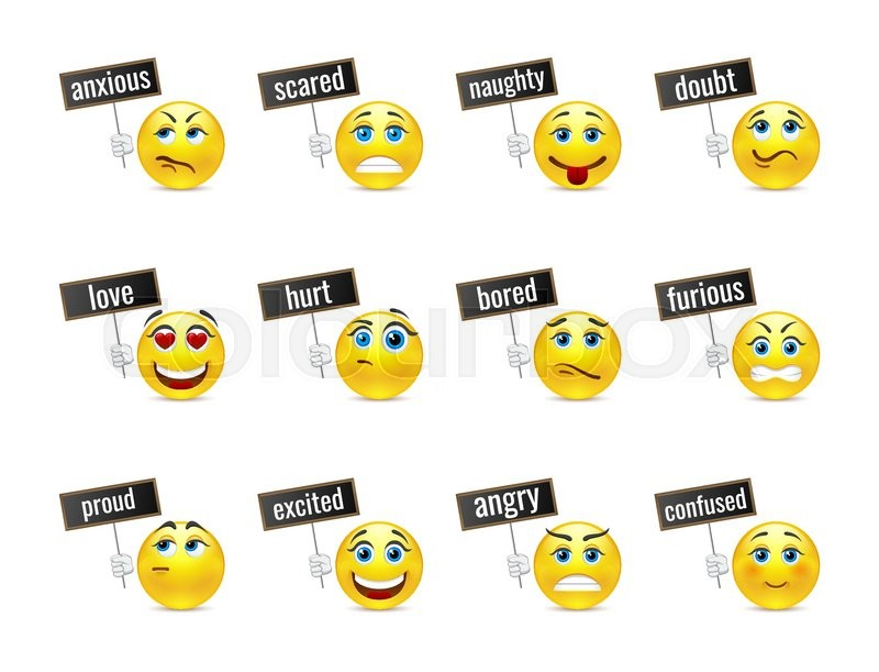 Different smiles emotions with plates, vector