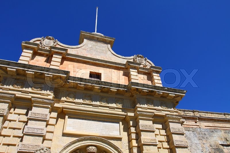 Classic Gothic architecture on a house in the old city of Mdina in Malta , stock photo