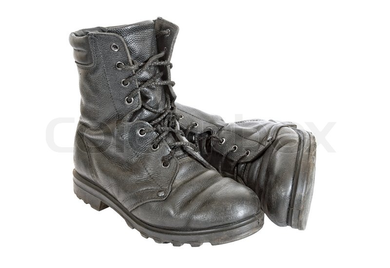 0aef621f9 Old black army boots isolated on white ... | Stock image | Colourbox